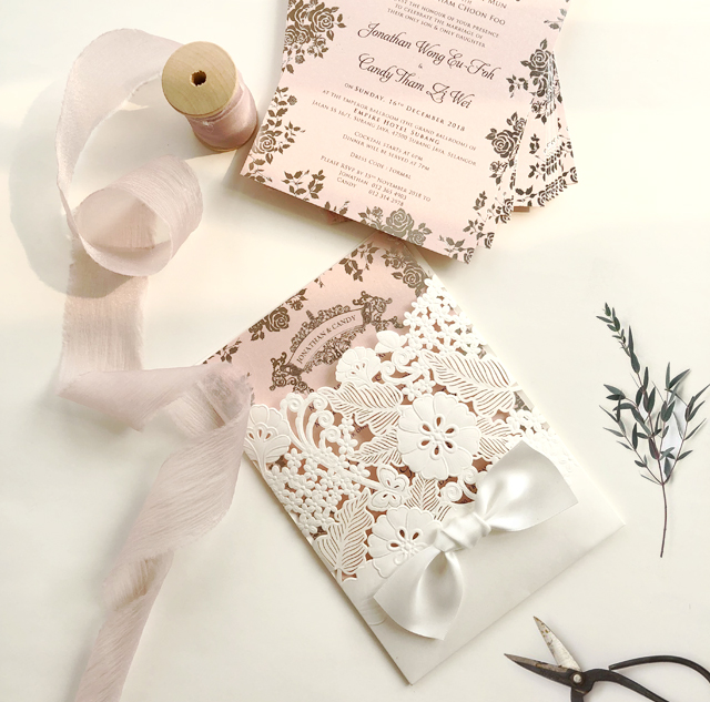 Laser Cut Wedding Invitation Card With Ribbon